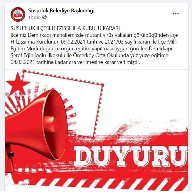 Susurluk Belediyesi son dakika açıklaması
