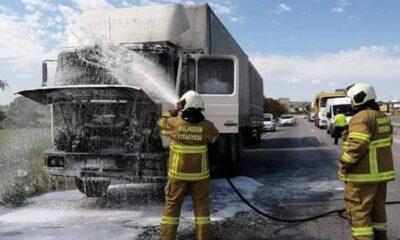 Susurluk'ta tır yangını